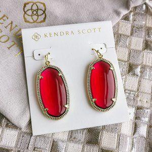 Elle Drop Earrings   Gold   Berry red glass